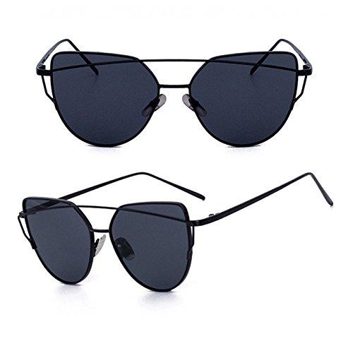 TIANLIANG04 Vendimia De Para De Gafas De Gato De En De Ojo Gafas Mujer La Oro De Sol El La Plana Reflectante De Hembra Metal Gafas GREY Rosa BLACK Gery W Lente Oculos La Espejo De W Oro wXqrf6X