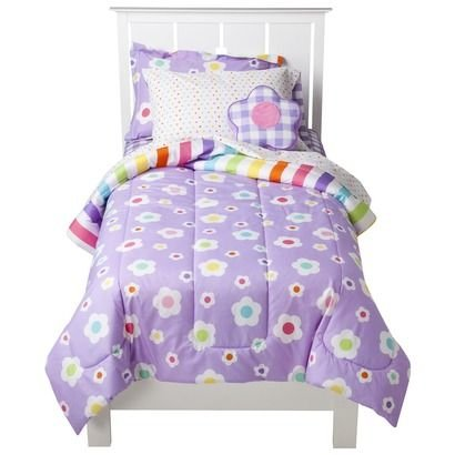 Just For Kids Girls Mix N' Match Flowers 5pcs Twin Bed Set - Bed in