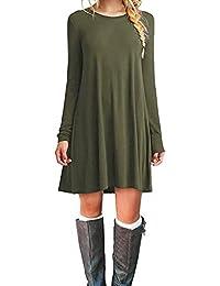 Bluetime Women's Long Sleeve Pockets Casual Loose T-Shirt Dress