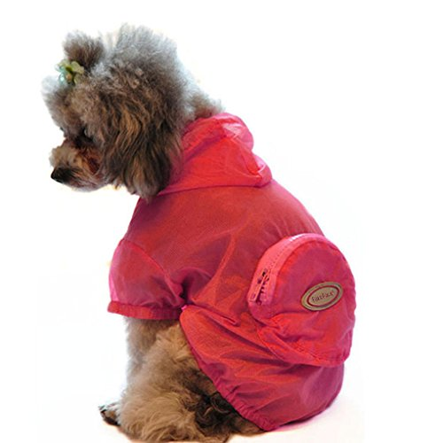 (FakeFace Pet Dog Cat Puppy Ultra-thin Anti UV Sun Block Hooded Rain Coat Jacket Foldable Waterproof UV Protection Hoodie Clothing Dog Rain Slicker Raincoat Sweater with Hood Clothes Apparel for)