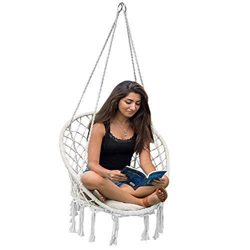 Lazy Daze Hammocks Handwoven Cotton Rope Hammock Chair Macrame Swing with Cushion and Wall/Ceiling Mount, 300 Pounds Capacity, for Indoor, Garden, Patio, Yard (Natural)