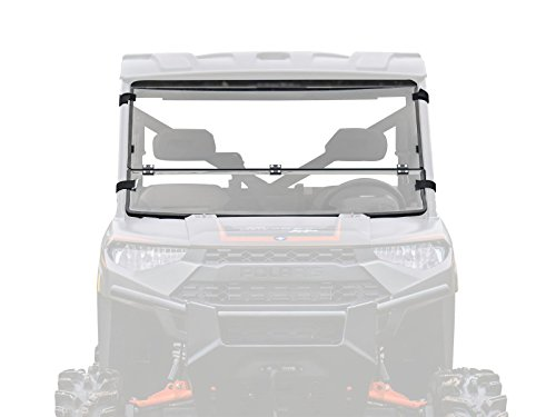 SuperATV Heavy Duty Flip/Fold Down 3-IN-1 Windshield for Polaris Ranger Full Size XP 1000 / Crew/Diesel (2015+) - Clear Scratch Resistant (Hard Coated)