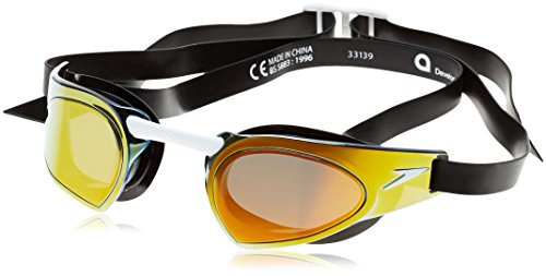 Speedo Fastskin Prime Mirror Swimming Goggles, Color- Black/Red