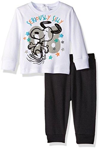 Peanuts Baby Boys' Snoopy Sweatshirt Set, White, 3/6