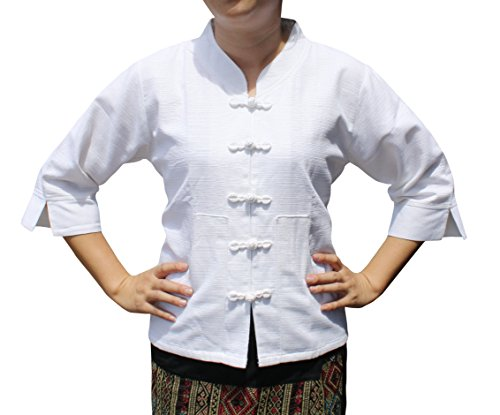 (RaanPahMuang Formal Chinese Handmade Cotton Ladies Shirt with Fabric Buttons, Large, White)
