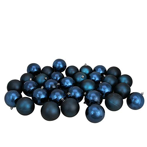 Northlight 32ct Sapphire Blue Shatterproof Shiny and Matte Christmas Ball Ornaments 3.25