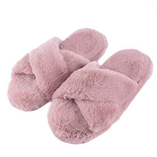 FamiPort Girls Pink Fuzzy Fluffy House Slippers for Women Cozy Memory Foam Bedroom Slippers Spa Open Toe Home Sandals with Fur]()