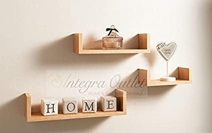 low cost e1aa9 b25f4 Set Of 3 Different Sizes U Shaped Wooden Floating Shelf Available in  black,White (Oak) by dy&dx