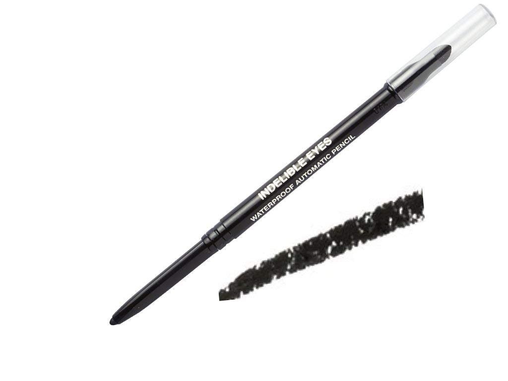Indelible Eyes Smooth Waterproof Gel Eyeliner - PITCH BLACK - Smudge proof - Ultra Smooth - Super Easy - Long lasting - Blender tip - Longwear - no sharpener needed - Twist Out - Slim-line Pencil