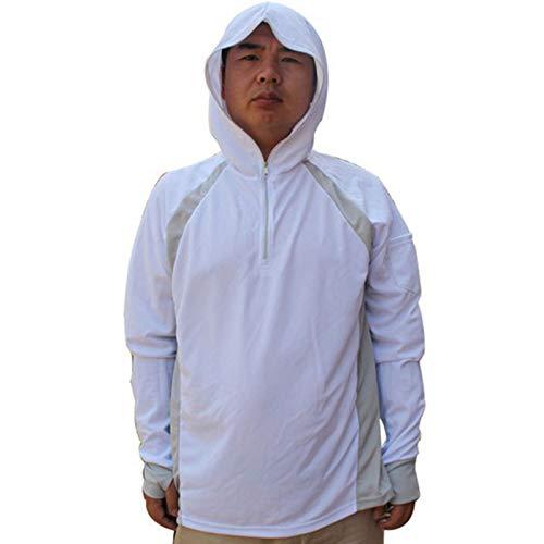 LANBAOSI Men's Anti-UV Sunscreen Protection Skin Coat Outdoor Quick Drying Fishing Shirts White