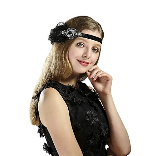 HÖTER Black Vintage Art Deco Feather Headband Accessories Flapper Costume