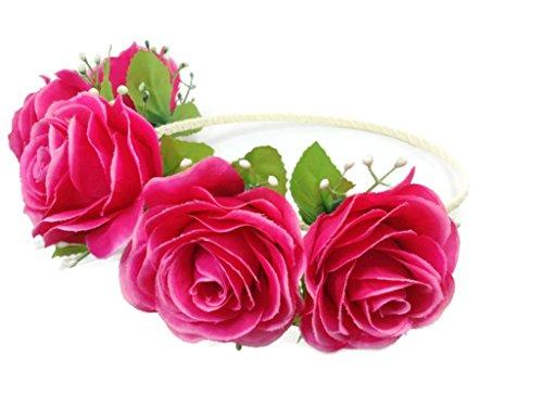 Floral Crown Circlet Tiara Handmade Headband :A2 (Pink)