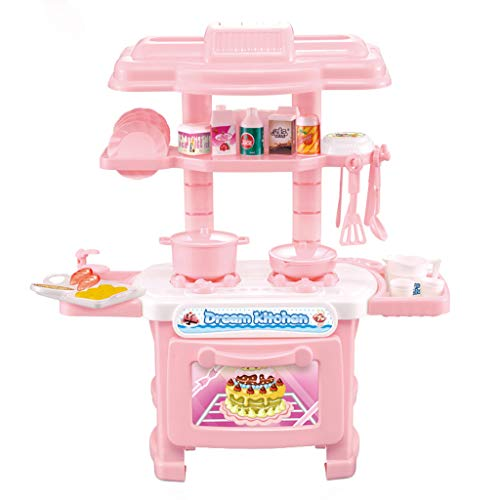 Basde Toy Simulation Tableware, Girl Toys Cooking Kitchen Kids Mini Playset Dollhouse Children Toy Cookware Cooking Utensils Pots Pans Set with