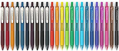 Arteza Bolígrafos de gel de colores, pack de 24 bolis surtidos, 10 vintage y 14 tonos vivos, punta fina de 0.7 mm, 24 plumas de gel para escribir en diarios, dibujar, hacer
