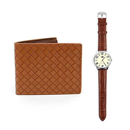 Ivory Face Wrist Watch & Brown Bifold Leather Wallet Gift Set ()