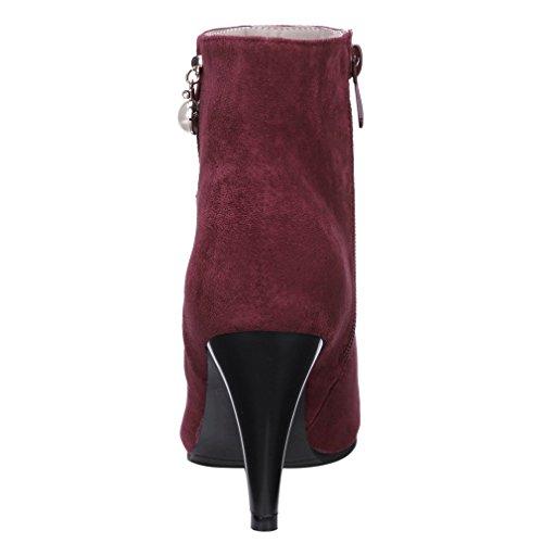 ENMAYER Mujeres Suede Sexy Pearl Estilete Tacones Altos Puntiagudos Zip Botas Vestido Partido Vino rojo#G5
