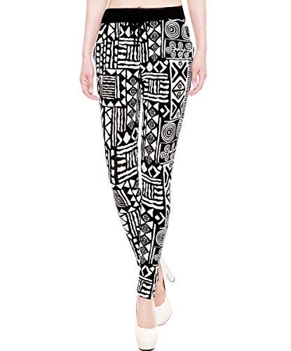 Simplicity Women's Stylish Printed Wide Leg Pants, Tribal Design w Pockets, M/L