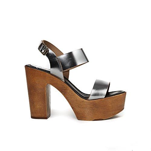UMA Plateau-Sandalen Aus Echtem Leder für Damen Metall