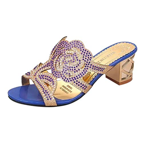 Sunhusing Womens Fish Mouth Open Toe Sandals Flowers Hollow Rhinestones Embellished Square Heel Slippers Sandals Blue