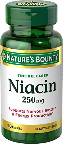 Nature's Bounty Niacin Pills and Supplement, Supports Nervous System and Energy Production, 250mg, 90 Capsules