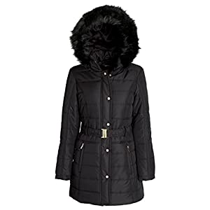 Sportoli Women's Longer Length Belted Winter Puffer Coat With Plush Lined Hood (Black/L)