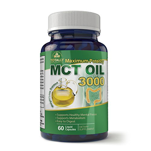 Maximum Potency 100% Pure MCT Oil Capsules 3000 mg I for Improved Energy and Brain Function I 60 Cold Pressed Softgels I Includes Bonus Keto Diet eBook