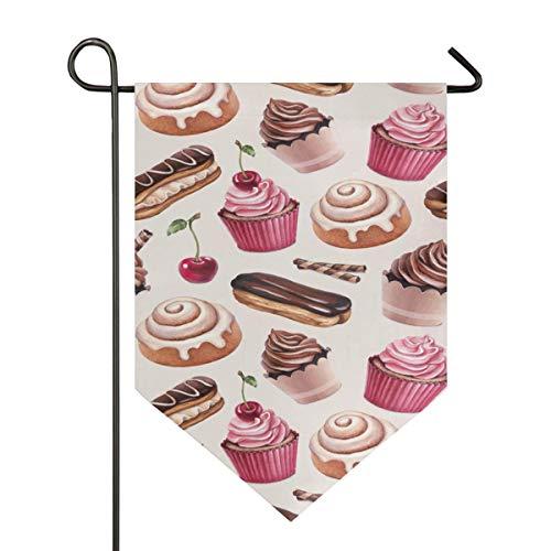 YATELI Garden Flag Dessert Cinnamon Bun Chocolate Cupcakes 12x18.5 Inches Double Sided Banner for Outdoor Lawn Decor]()