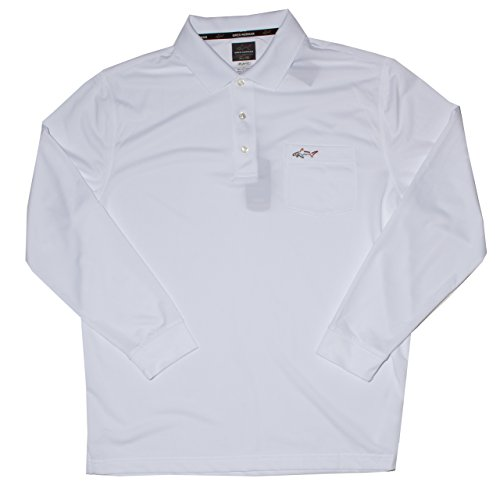 Greg Norman for Tasso Elba 5 Iron Long-Sleeve Solid Performance Polo (Large, Bright White)
