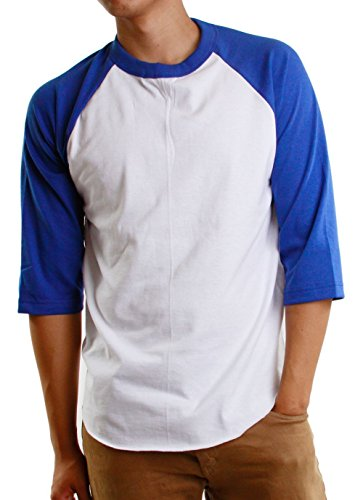 Baseball Raglan 3/4 Sleeves Casual T-Shirts Plain Cotton Jersey S-3xl (3X-Large, 1ks01_ White/Royal Blue) ()