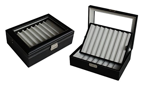 Elegant 16 Piece Black Leatherette Pen Display Case Storage and Fountain Pen Collector Organizer Box with Glass Window by TimelyBuys (Image #5)