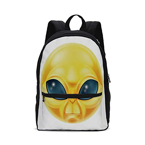 Emoji Fashion Canvas printed Backpack,Alien Smiley Face with Big Eyes Creature from Outer Space Nebula Galaxy Image for -