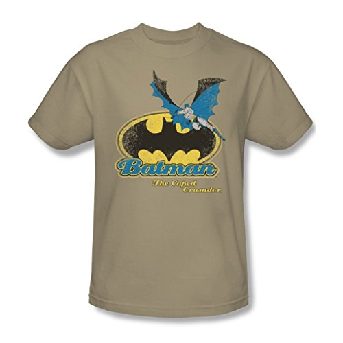 Batman+Retro+Shirts Products : Batman - Caped Crusader Retro Adult T-Shirt In Sand