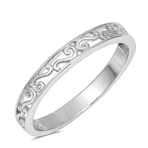 Swirl Filigree Cutout Fashion Unique Ring .925 Sterling Silver Band Size - Band Silver Filigree Sterling