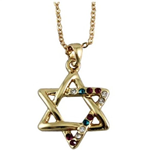 - Quality Judaica Jewish Star of David Necklace with Multi Colored Stone Pendant, 18