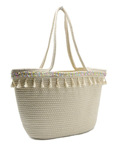 Large Beach Tote Bag Women Cotton Woven Fringed Travel Tote Cute Tassels Shoulder Handbag with Long Rope (Oversized Large Woven Handbag Tote)