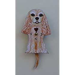 Wall Clock with SwingingTail Pendulum, Cat or Dog, Wood Frame, 31 Different Designs, Requires 2 AA Batteries(not included) for Clock and Pendulum,Quartz Movement (rose)