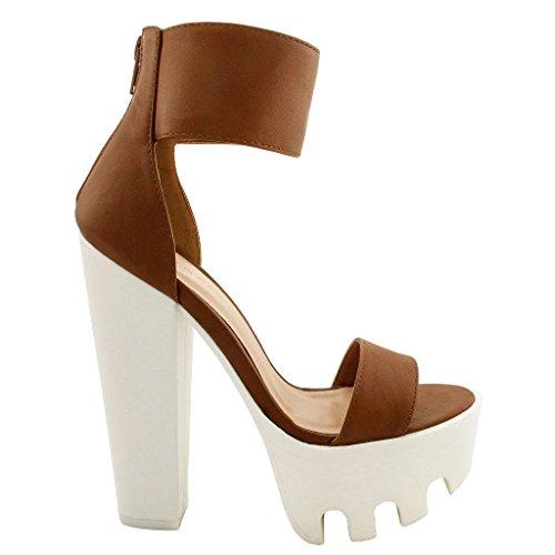 Women Ankle Strap Platform Pump Sandal Chunky High Heel (Cognac White-V),7.5 US