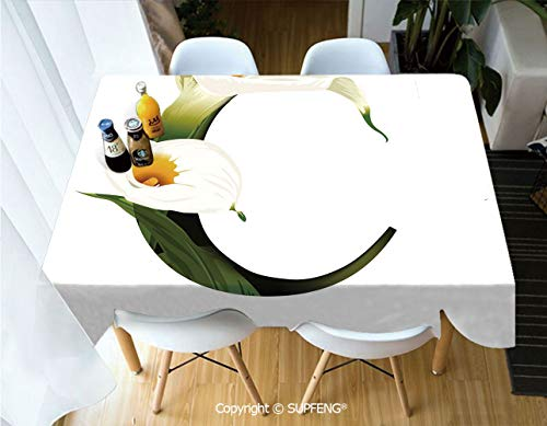 Vinyl tablecloth White Lily Flower Nature Inspirations Art Alphabet Letter C ABC Print (60 X 120 inch) Great for Buffet Table, Parties, Holiday Dinner, Wedding & More.Desktop decoration.Polyester - Alphabet Little Lilys
