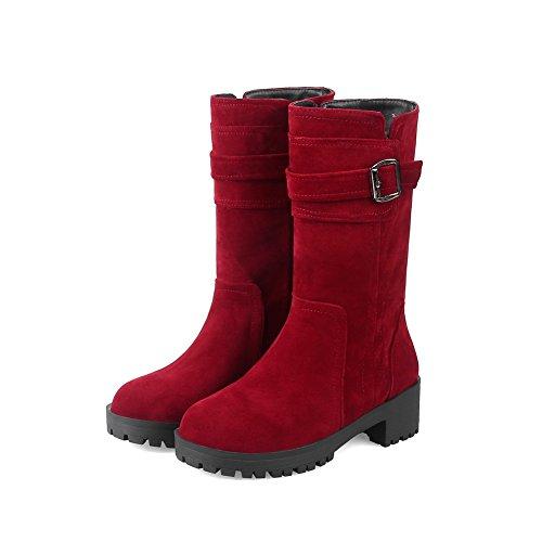 Nubuck del Forro MNS02623 Rojo Cierra del el mujer dedo Uretano Cremallera cálido para Vestido 1TO9 tobillo de Tobillo Botas bajo Carretera Botas Impermeable pie uretano qfg4FTTz
