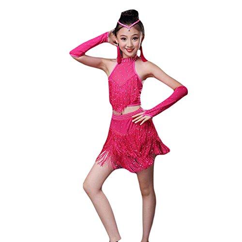 Girl Latin/Rumba Dance Dress Sequins Fringe Dance Costume-Rose Red