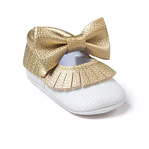 (Isbasic Baby Girl Bows Mary Jane Flats Toddler Infant Soft Sole Anti-Slip Princess Baptism Crib Dress Ballet Shoes (6-12 Months, D-Gold&White))