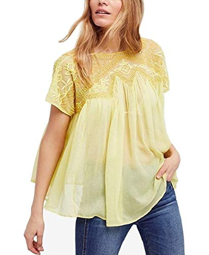 Free People Sunny Days Embellished Top, Yellow, Size XS