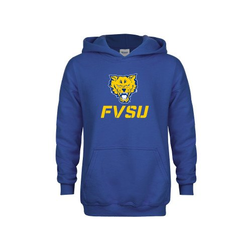 Fort Valley State Youth Royal Fleece Hoodie Primary Mark