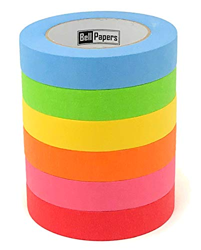 Really Long Colored Masking Tapes (Pack of 6 Tapes)   Each Tape is 1 inch Wide X 60 Yards Long   Kids Crafting Decorative Tapes   Moving Labelling Tapes   Vibrant Assorted Multi Colored DIY Fun Rolls