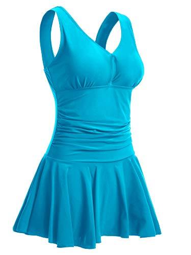 MiYang Women's Plus-Size Flower Printing Shaping Body One Piece Swim Dresses Swimsuit Blue ()