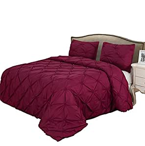 Burgundy Bedding Sets Pinch Pleat Queen/King Size Bedclothes Duvet Cover Set (King)