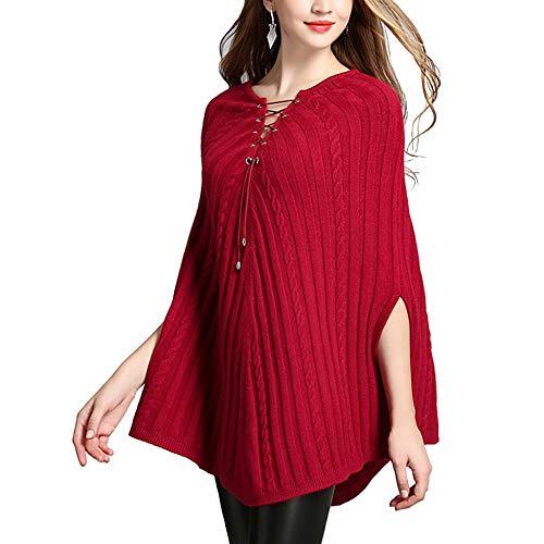 In Twist Cloak Donna Maglia Spring Poncho Autumn Scialle Pullover Fashion Da Rope Cappotto Cape Red p8SqOvp