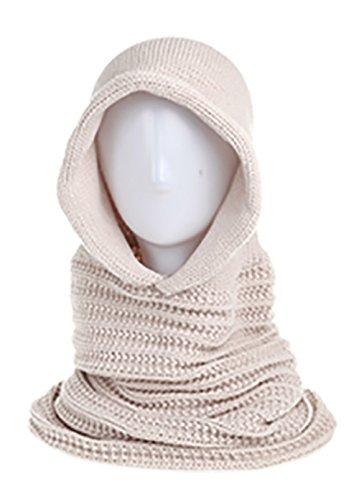 Angela & William Unisex Handmade Warm Hooded Scarf and Poncho Pullover (Khaki) (Burgundy Felt Bonnet)