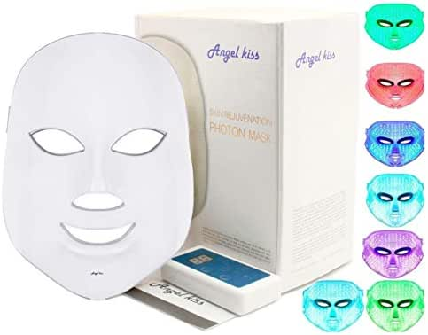 LED Face Mask - Angel Kiss 7 Color Photon Red Light Therapy Skin Rejuvenation Facial Skin Care Mask - White