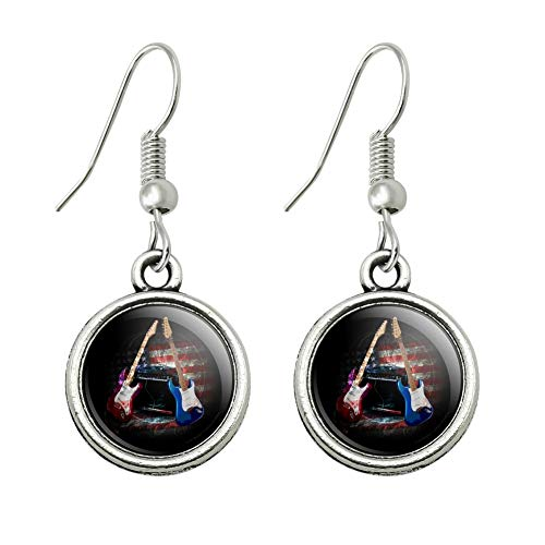 GRAPHICS & MORE Electric Guitars American USA Flag Rock and Roll Red White Blue Novelty Dangling Drop Charm Earrings]()